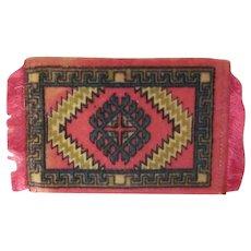Vintage Flannel Tobacco Premium Dollhouse Rug #8 Pink