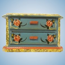Made in Western Germany Dora Kuhn Two Drawer Dresser Hand Painted Wooden Dollhouse Furniture