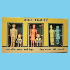 """Boxed Renwal 3/4"""" Hard Plastic Dollhouse  Family Mother, Dad, Brother, Sister, and Two Babies Not Used"""