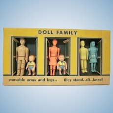 "Boxed Renwal 3/4"" Hard Plastic Dollhouse  Family Mother, Dad, Brother, Sister, and Two Babies Not Used"