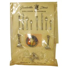 Grandmother Stover's on Original Card Large Set of Table Accessories for the Dollhouse
