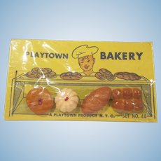 Playtown Bakery Shop Dollhouse Food on Original Card with Cellophane Sleeve