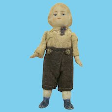 "Germany 1"" Bisque Jointed Dressed Little Boy Doll for Dollhouse"