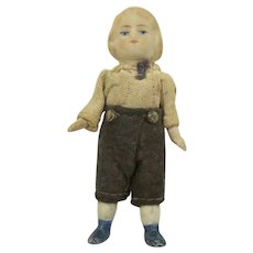 """Germany 1"""" Bisque Jointed Dressed Little Boy Doll for Dollhouse"""