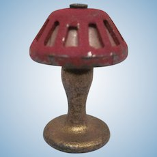 """Tootsie Toy 1/2"""" Table Lamp Gold with Dark Red Shade Dollhouse Accessory"""