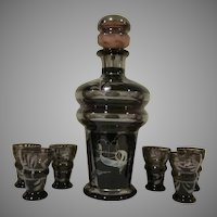 Vintage Amethyst Venetian Silver Overlay Glass Decanter Set with Six Shot Glasses
