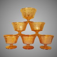 Normandy Bouquet and Lattice Iridescent Set of 6 Sherbet Stems Depression Glass