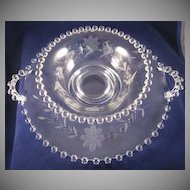 Floral Etched Imperial Candlewick Bowl with Handled Liner