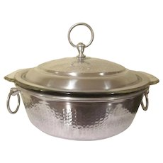 Vintage Anchor Hocking Fire King 1-1/2 Quart Clear Baker with the Original Label and in an Aluminum Caddy