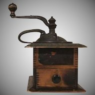 Early Vintage Parker's National Coffee Box Mill with Tin Top and Bat Wing Handle