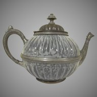 Early Gray Graniteware and Pewter Teapot