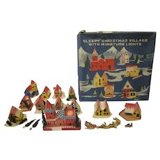 Vintage Sleepy Christmas Village Buildings with Miniature Lights in Original Box Works 1960s