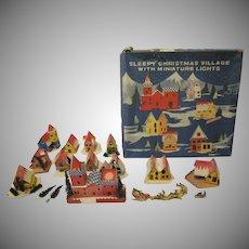 Vintage Sleepy Christmas Village Buildings with Miniature Lights in Original Box Works 1960s