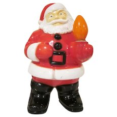 Vintage Royalite Hard Plastic Santa Holding a Light Bulb Christmas Decoration Works