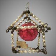 Vintage Made in Japan Glass Beaded Christmas Tree House Ornament with Original Paper Label