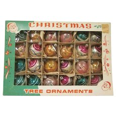 """Vintage Box of 2 Dozen Hand Painted 1-1/4"""" Diameter Ball Ornaments from Poland in Original Box"""