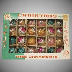 "Vintage Box of 2 Dozen Hand Painted 1-1/4"" Diameter Ball Ornaments from Poland in Original Box"