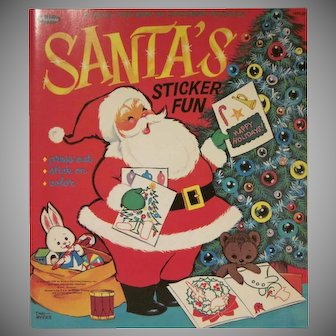 Vintage Santa's Sticker Fun Booklet by Whitman 1967