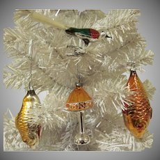 Vintage Group of 4 West Germany Glass Christmas Tree Ornaments 2 Fish, Table Lamp, and Bird Clip
