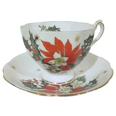 Vintage Queen Anne Fine Bone China Noel Poinsettia Hand Painted Cup and Saucer Made in England