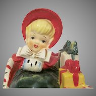 Lefton Girl in Sleigh with Packages Christmas Decoration 1956