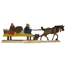 Made in Germany Hans Heinrichsen Large Christmas Winter Scene Flat A Couple in a Horse Drawn Cart with Straw