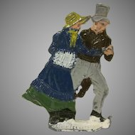 Made in Germany Hans Heinrichsen  Christmas Winter Scene Flat Couple Skating