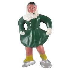 Barclay Winter Series Cast Metal Woman Skater Figure