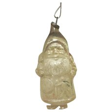 Made in Germany White Santa with Doll Christmas Tree Thin Glass Ornament