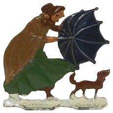 Hans Heinrichsen Christmas Winter Scene Flat Woman's Umbrella Blows in the Wind Made in Germany