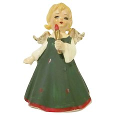 Lefton Angel in  Green Dress with Red Stars Holds a Candle Ceramic Figurine with Tag Christmas Decoration