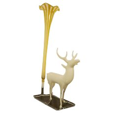 Vintage German White Lauscha Glass Deer with Yellow Striped Vase Christmas Decoration