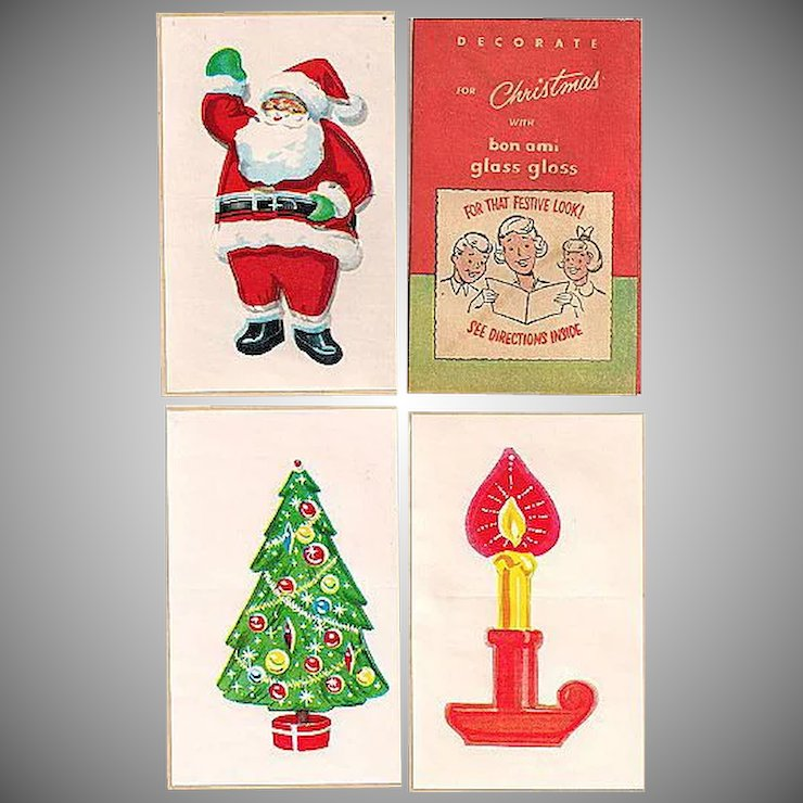 bon ami glass gloss christmas decals complete with directions - Christmas Decals For Glass
