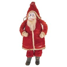Made in Japan Chenille Santa with a Net Sack Candy Container and Ornament