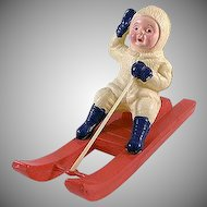 Celluloid Child Sledding Toy Made in Japan