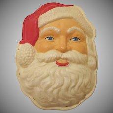 Plastic Sheeting Santa Claus Face Light 1960s Christmas Decoration