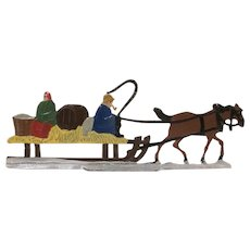 Made in Germany Large Hans Heinrichsen Christmas Flat Couple in Horse Drawn Wagon Figure