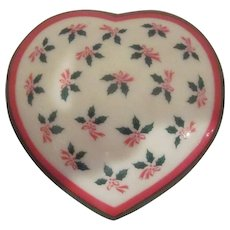 Lefton China Heart Shaped Box with Holly Design