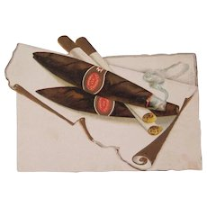 Early Embossed Christmas Card with Cigars and a Cigarette - Red Tag Sale Item