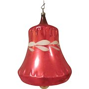 Early Large Red Bell with Hand Painted White Laurel Christmas Tree Ornament
