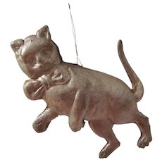 Made In Germany Dresden Silver Cat on Hind Legs with Bow Tie 3D Christmas Tree Ornament