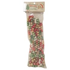 Vintage Multi-Colored Glass Christmas Bead Garland in the Original Package
