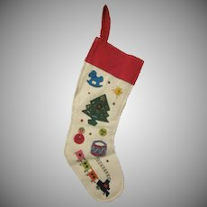 Vintage Home Made Felt Christmas Stocking 1950s