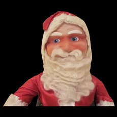 """Early Mask Faced Santa Doll in Satin Outfit 22"""" tall - Red Tag Sale Item"""