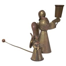 Brass and Copper Angel Taper Candlestick with a Brass Angel Candle Snuffer from the 1970s