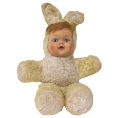 Vintage Plush Rabbit with Rubber Child's Face Doll & Toy Industries Toy