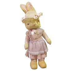 Vintage Large Plush Dressed Mrs. Easter Bunny Store Display
