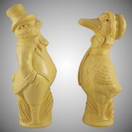 Irwin Celluloid Lady Duck and Man Chick Baby Toys From an Easter Basket