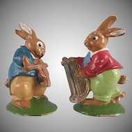 Two Composition Rabbits Playing Instruments Figures for Easter