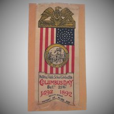 National Public School Celebration of Columbus Day Silk Ribbon 1892